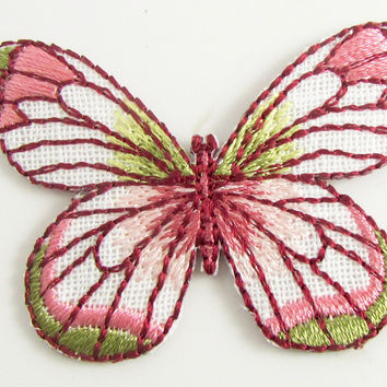 "Butterfly with pinks and Greens Embroidery Iron-On 1.5"" x 2"""