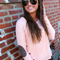 Button Detail Knit {Peach}