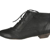 Sweet Beauty Robin-02 Women's Shorties with Laced Round Toe Oxford Upper on Kitty Heels,8.5 B(M) US,Black