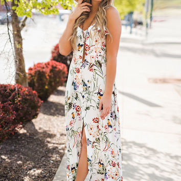 Bloom Bloom Pow Ruffle And Button Detail Back Cut Out Floral Maxi Dress (Ivory)
