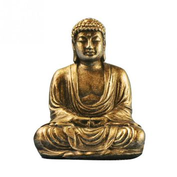 Mini Resin Gold Silver Buddha Statue Sculpture Meditating Antique Style Home Decor Ornament Feng Shui