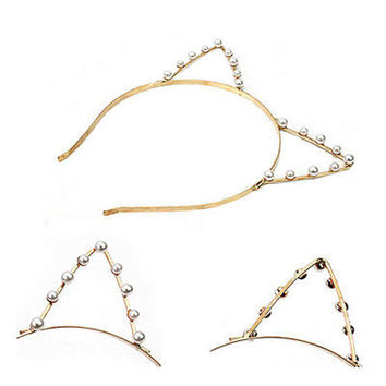 Women Cat Ears Faux Alloy Rhinestones Alloy Headband Hairbands Fashion Girls Hair Head Bands Cute Pop Accessories