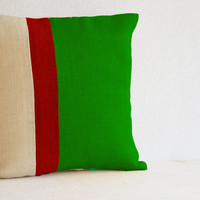 Green Pillow - Burlap Pillow color block -Forest Green White Decorative cushion cover- Spring Throw pillow gift 16X16 -Green White Euro Sham