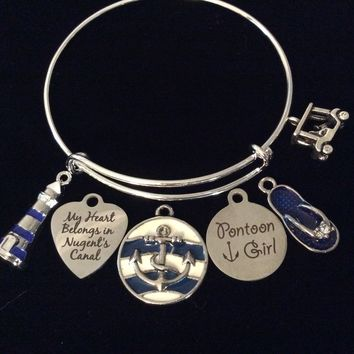 Nugent's Canal Pontoon Girl Expandable Silver Charm Bracelet Adjustable Bangle One Size Fits All Gift Jewelry Lighthouse