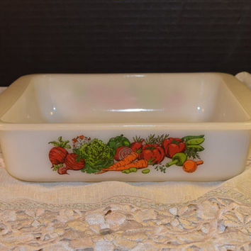 Glasbake J 2428 Casserole Dish Vintage Vegetable Bakeware Made in USA White Milk Glass Serving Bowl Brownie Pan Holiday Bakeware