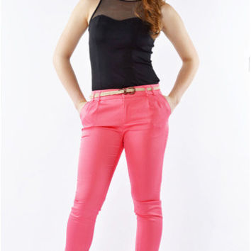 Cotton Twill Skinny Pants - Coral