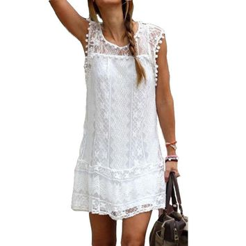 Fashion Women Summer Lace Dress Crochet Chiffon Party Club DressesTassel Off Shoulder Summer Sleeveless Hollow Out Shift Clothes