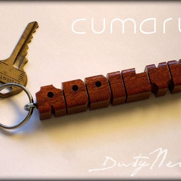 Cumaru Wood Name Keychain - Any Name Carved and Shipped within 3 Days