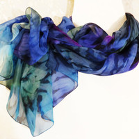 """Silk scarf hand painted Chiffon scarf blue green purple Summer scarf colorful Silk painted abstract scarf Bright fabric Size 142x53cm 56x21"""""""