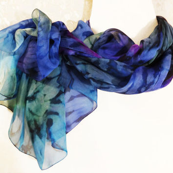 Silk scarf hand painted Chiffon scarf blue green purple Summer scarf colorful Silk painted abstract scarf Bright fabric Size 142x53cm 56x21""