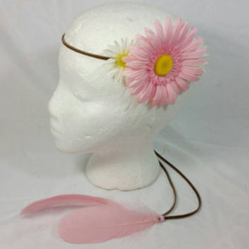 Daisy Pink Feather Brown Faux Leather Headband/White Daisy Groovy Hippie Faux Leather Headband/Coachella Boho Headband/Bohemian/Festival
