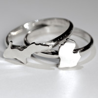 Michigan Peninsula Stack Rings in Sterling Silver