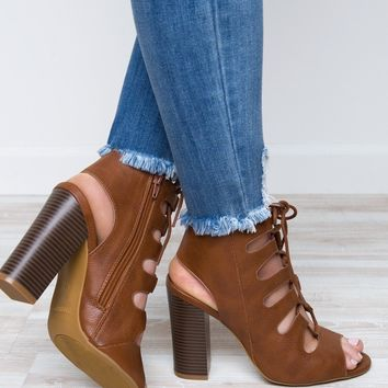 Ansley Lace Up Heels - Tan
