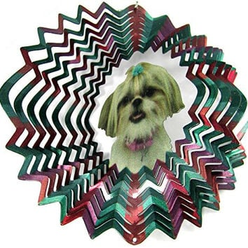 "Iron Stop 10"" 3D Wind Spinner Designer Shih Tzu Dog Multi-Color Powder Coated Metal + 2 Swivels"