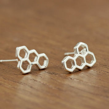 geometric honeycomb stud earrings, silver plated, minimalist