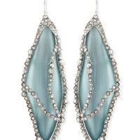 Crystal-Caged Lucite Dragonfly Wing Earrings, Gray/Blue