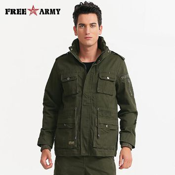 Mens Green Military jacket winter Cargo Plus size M-4XL Casual man jackets Solid Zipper Slim Fit Army clothes brand MS-6206A