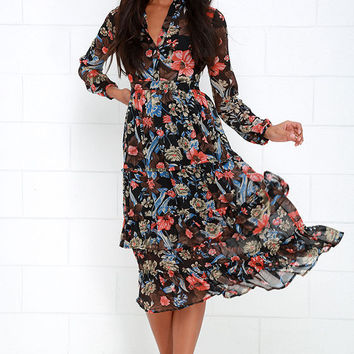 A Peony Earned Black Floral Print Midi Dress