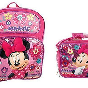 "Disney Minnie Mouse Shine Pink 12"" Backpack With Lunch Bag …"