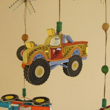Baby Crib Mobile - Monster Truck Mobile - Car Nursery Mobile - Quilled Car Mobile - Truck Mobile -  Boy Mobile Handmade 23A