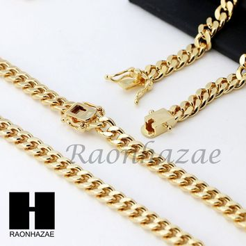 14k Gold Finish Heavy 6mm Miami Cuban Link Chain Necklace Bracelet Various Set Z