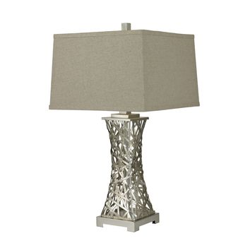 D2604 Trump Home Woven Metal Thread Table Lamp in Silver Leaf - Free Shipping!