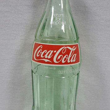 Vintage Coca Cola 32 Ounce Glass Bottle With Cap