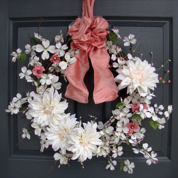 Spring Wreaths, Dogwood, Front Door Wreaths, Spring Door Wreaths, Easter Wreaths, French Country, Wreath, Dahlias, Wreaths, Etsy Wreaths