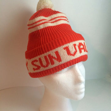 Sun Valley Orange Ski Hat Beanie Puff Ball Top White Stripe Winter Knit 1970s Size Small Medium Woven Soaring Hawk Vintage Free US Shipping