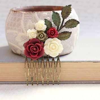 Bridal Hair Comb Deep Red Oxblood Rose Comb Burgundy Wedding Dark Green Ivory Cream Flowers for Hair Bridesmaids Gift Winter Cranberry Red
