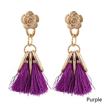 Fashion Long Tassel Earrings Rose Flower Gold Dangle Earrings for Women
