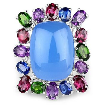 A Natural 19.95 Cushion Cut Cabochon Blue Chelcedonia & Natural Gems Ring