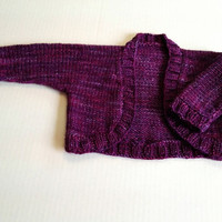 Knit Baby Shrug, Purple Baby Sweater, Knitted Baby Bolero, Purple Striped Knitted Shrug