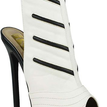 WHITE PEEP TOE FAUX LEATHER MATERIAL SIDE BUCKLE STRAP BOOTIES