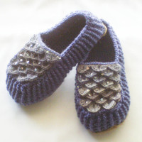 Storm Blue Crochet Loafers - Adult Sizes - Crocodile Stitch Slippers with Jute Soles - Made to Order