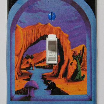 "Trippy blacklight light switch cover plate ""Triassic Pond"" by Vincent Monaco"