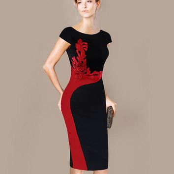 Womens Dress Elegant Vintage Embroidered Contrast Slim Casual Work Party Pencil Sheath Embroidery Dress 215