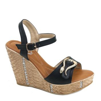 Rhinestones Snake Buckle Vegan Platform Wedge Sandals