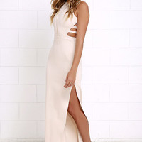 Intents and Purposes Beige Sleeveless Maxi Dress