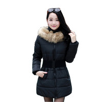 2016 women winter fashion coat  paragraph Slim   Girls padded belt fur collar parka quilted jacket  puffer jacket