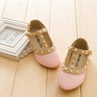 2016 New Style Brand Kids Sneaker Children Shoes Patent Leather Girl Flat Shoes Toddler Princess Shoes Rivet T-strap  Size 21-36