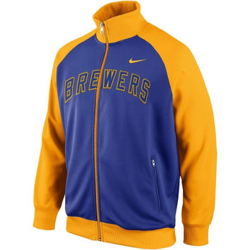 Nike Milwaukee Brewers 2014 Full Zip Track Jacket - Royal Blue/Gold