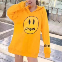Women Casual Hoodie Letter Pattern Smiling Face Loose Print Hooded Long Sleeve Cotton Sweater Tops