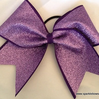 Lilac with Purple Glitter Cheer Bow Hair Bow by SparkleBowsCheer