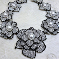 Stunning Gorgeous KJL (Kenneth Jay Lane) Pave Rhinestone and Black Enamel Trim Floral Statement Necklace
