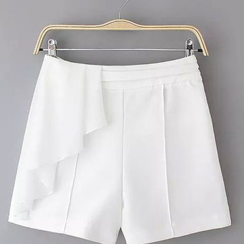 White Frilled High Waist Shorts