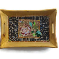 Mosaic Tray Glass Rose Serving Tray 11 X 8 Home decoration Kitchen decor Dining room Office