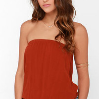 Just Flow With It Rust Red Crop Top