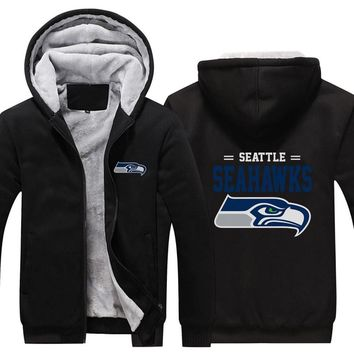 USA size Men Women Seattle seahawks Zipper Jacket Sweatshirts Thicken Hoodie warm Fleece Coat Clothing Casual Coats Plus Size