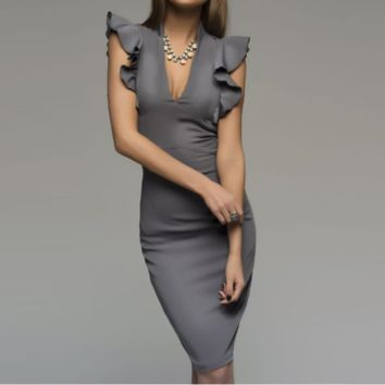 Solid Color Fashion Sexy V-Neck Dress